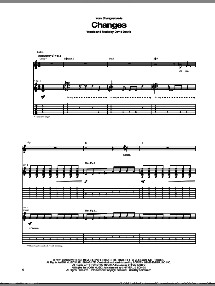 Changes sheet music for guitar (tablature) by David Bowie. Score Image Preview.