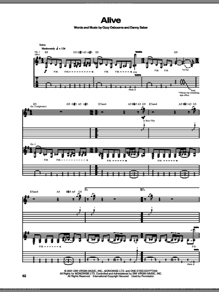 Alive sheet music for guitar (tablature) by Ozzy Osbourne and Danny Saber, intermediate skill level