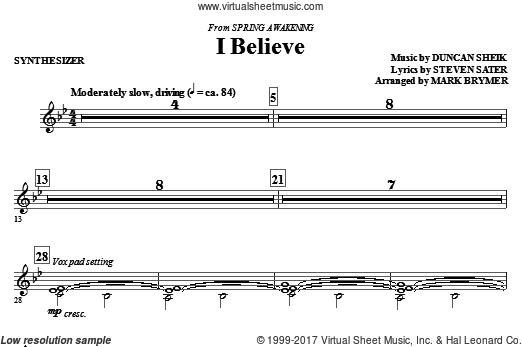 I Believe (COMPLETE) sheet music for orchestra by Duncan Sheik
