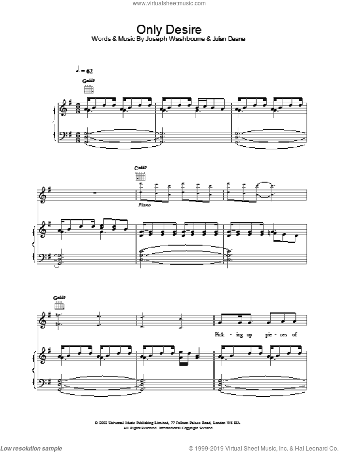 Only Desire sheet music for voice, piano or guitar by Toploader