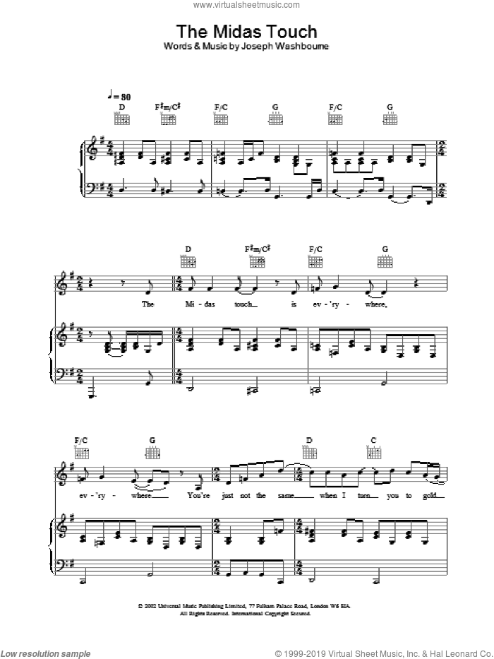 The Midas Touch sheet music for voice, piano or guitar by Toploader