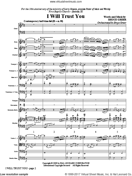 I Will Trust You (COMPLETE) sheet music for orchestra by Bruce Greer