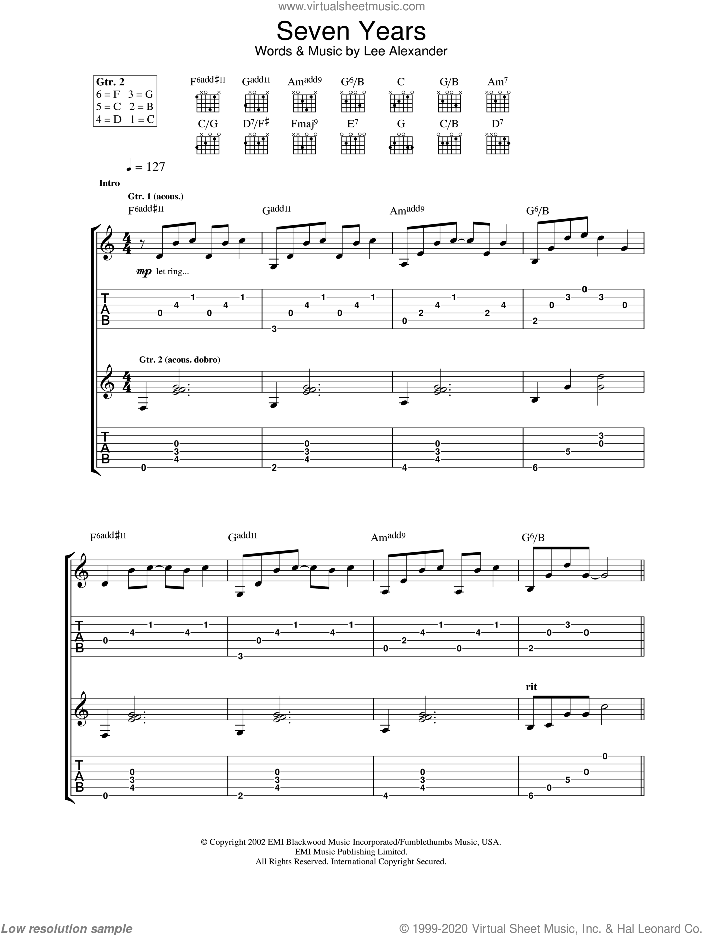 Seven Years sheet music for guitar (tablature) by Norah Jones, intermediate guitar (tablature). Score Image Preview.