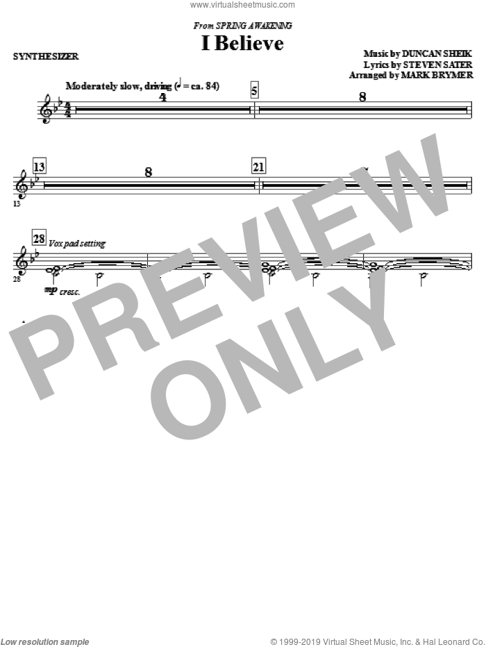 I Believe (complete set of parts) sheet music for orchestra/band (Rhythm) by Duncan Sheik, Steven Sater and Mark Brymer, intermediate skill level