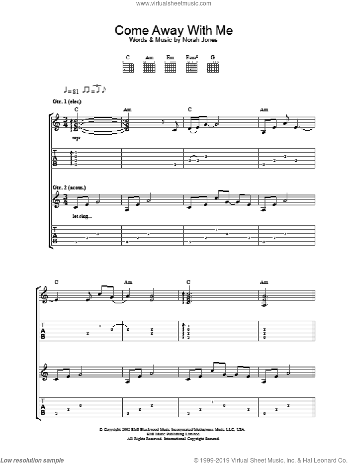 Come Away With Me sheet music for guitar (tablature) by Norah Jones