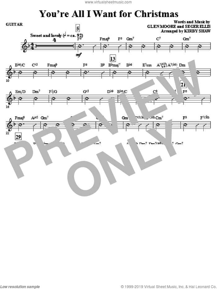 You're All I Want for Christmas (complete set of parts) sheet music for orchestra/band (Rhythm) by Glen Moore, Seger Ellis and Kirby Shaw, intermediate. Score Image Preview.