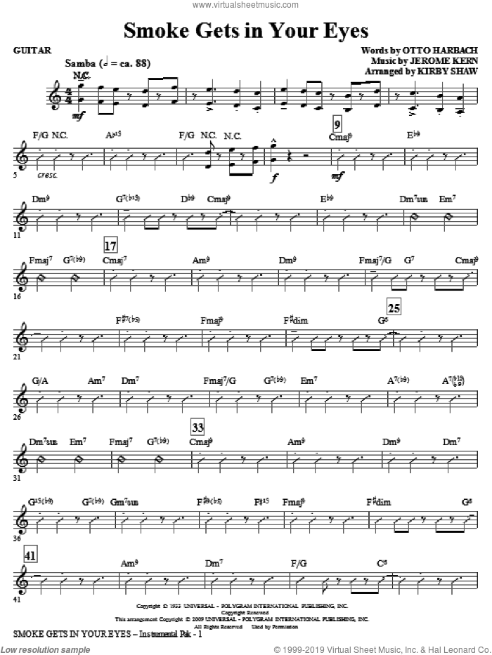 Smoke Gets in Your Eyes (complete set of parts) sheet music for orchestra/band (Rhythm) by Jerome Kern, Otto Harbach and Kirby Shaw, intermediate skill level