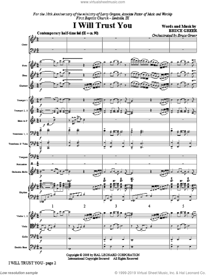 I Will Trust You (COMPLETE) sheet music for orchestra/band (Orchestra) by Bruce Greer, intermediate. Score Image Preview.