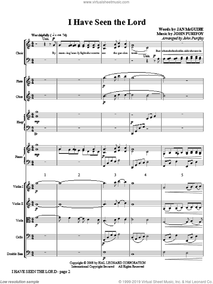 I Have Seen the Lord (COMPLETE) sheet music for orchestra/band (chamber ensemble) by John Purifoy, intermediate orchestra/band (chamber ensemble). Score Image Preview.