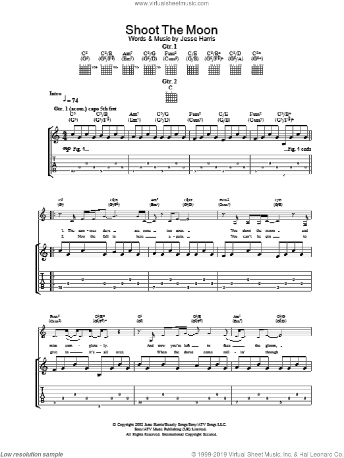 Shoot The Moon sheet music for guitar (tablature) by Norah Jones, intermediate. Score Image Preview.