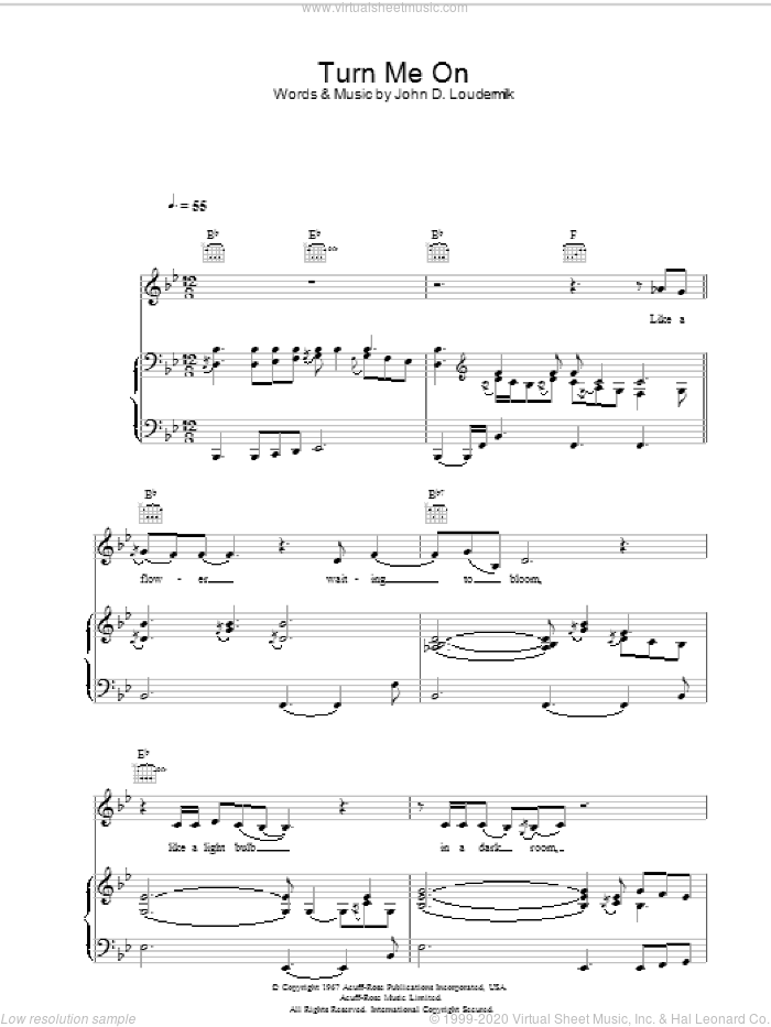 Turn Me On sheet music for voice, piano or guitar by Norah Jones. Score Image Preview.