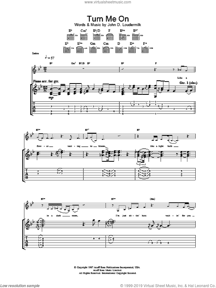 Turn Me On sheet music for guitar (tablature) by Norah Jones, intermediate skill level
