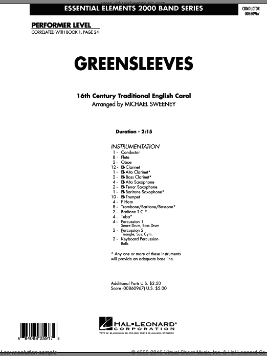 Greensleeves (COMPLETE) sheet music for concert band by Michael Sweeney. Score Image Preview.