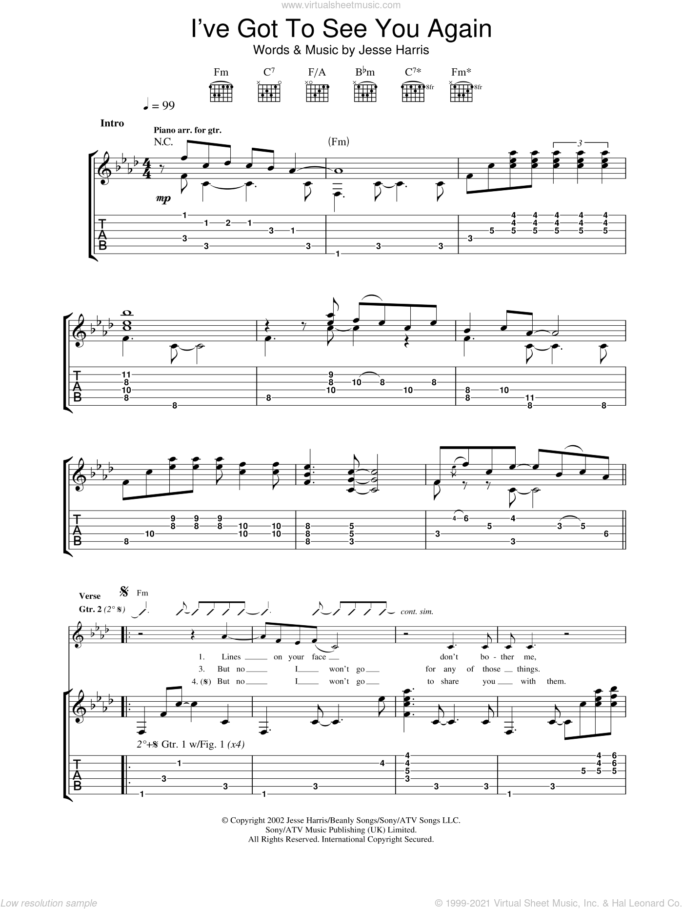 I've Got To See You Again sheet music for guitar (tablature) by Norah Jones. Score Image Preview.