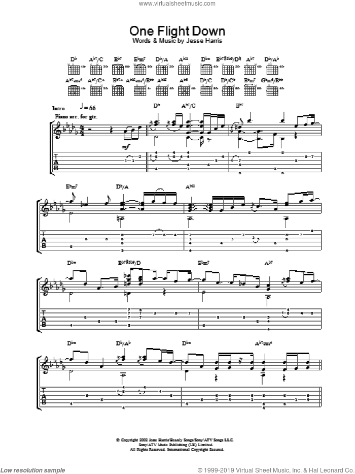One Flight Down sheet music for guitar (tablature) by Norah Jones, intermediate guitar (tablature). Score Image Preview.