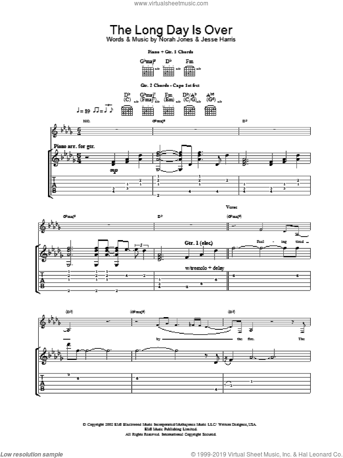 The Long Day Is Over sheet music for guitar (tablature) by Norah Jones. Score Image Preview.