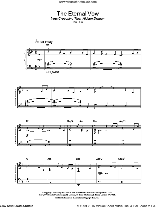 The Eternal Vow from Crouching Tiger, Hidden Dragon sheet music for piano solo by Crouching Tiger Hidden Dragon and Tan Dun. Score Image Preview.