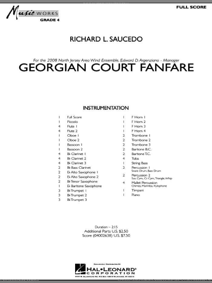 Georgian Court Fanfare (COMPLETE) sheet music for concert band by Richard L. Saucedo, intermediate. Score Image Preview.