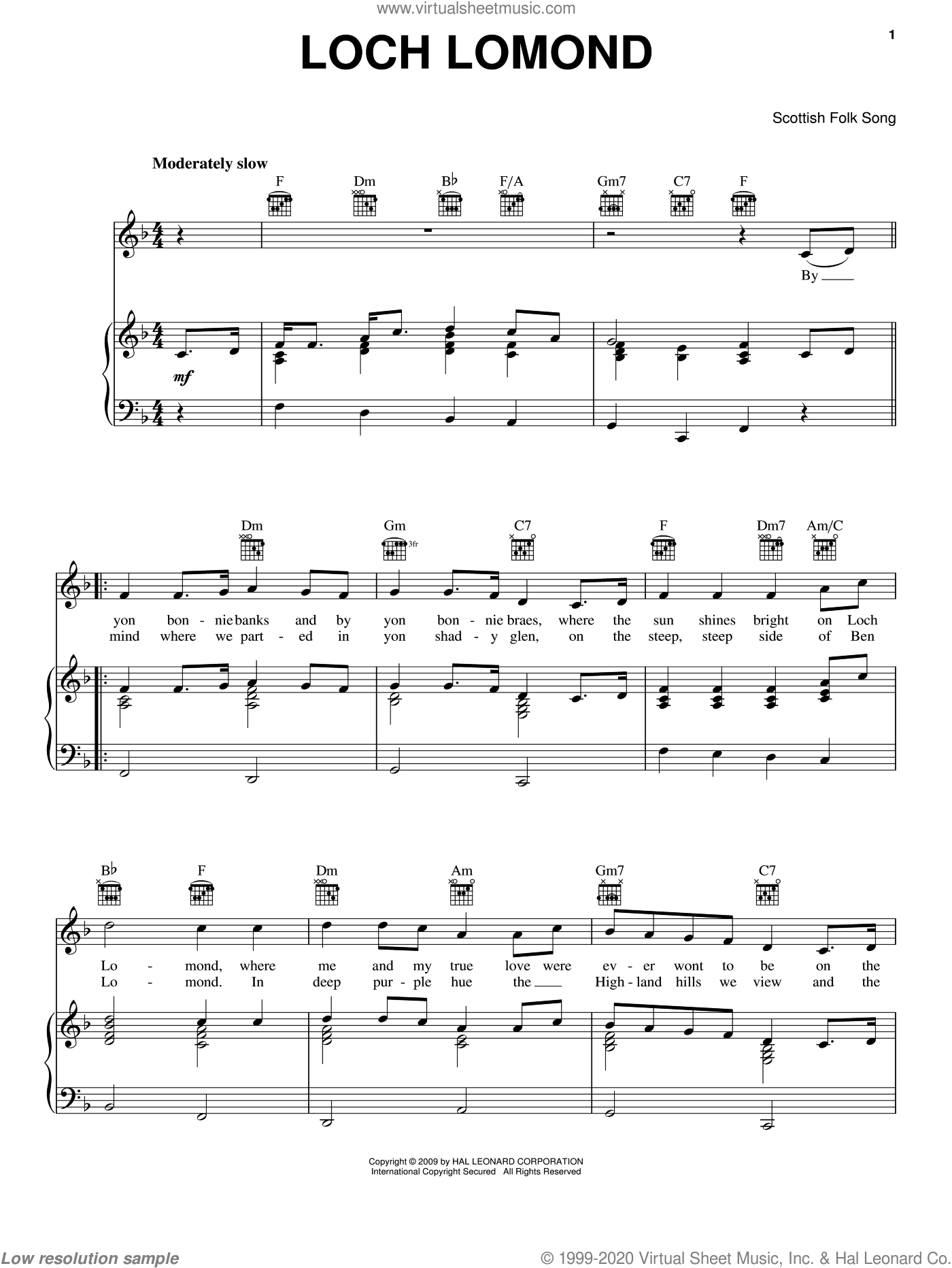 Loch Lomond sheet music for voice, piano or guitar. Score Image Preview.