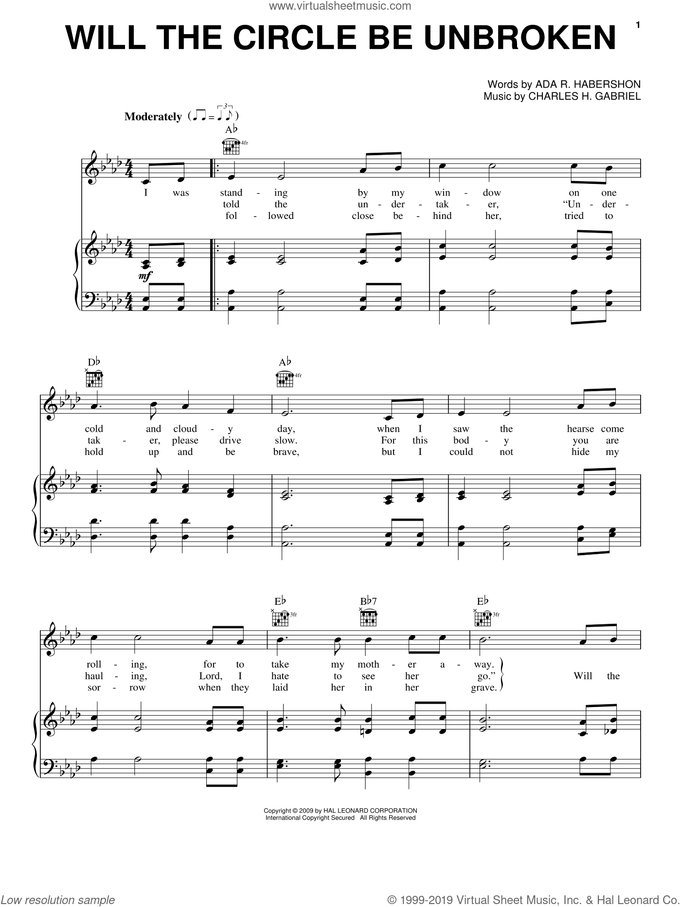 Will The Circle Be Unbroken sheet music for voice, piano or guitar by Ada R. Habershon