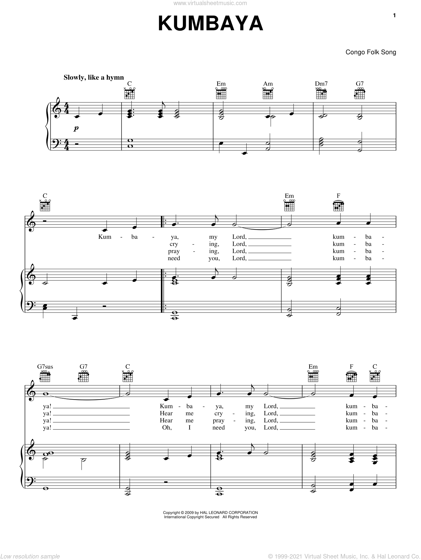 Kumbaya sheet music for voice, piano or guitar. Score Image Preview.