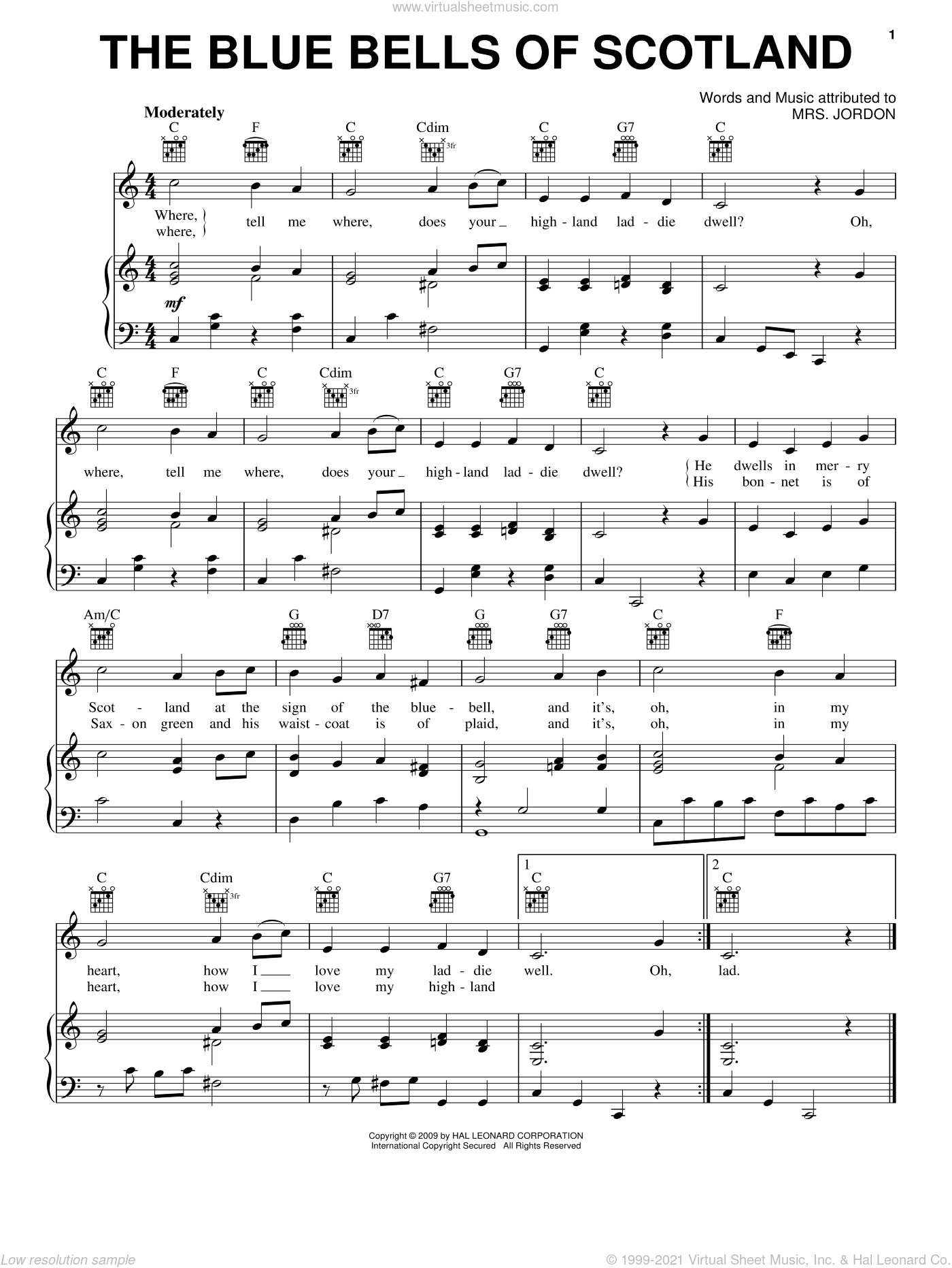 The Blue Bells Of Scotland sheet music for voice, piano or guitar by Mrs. Jordon