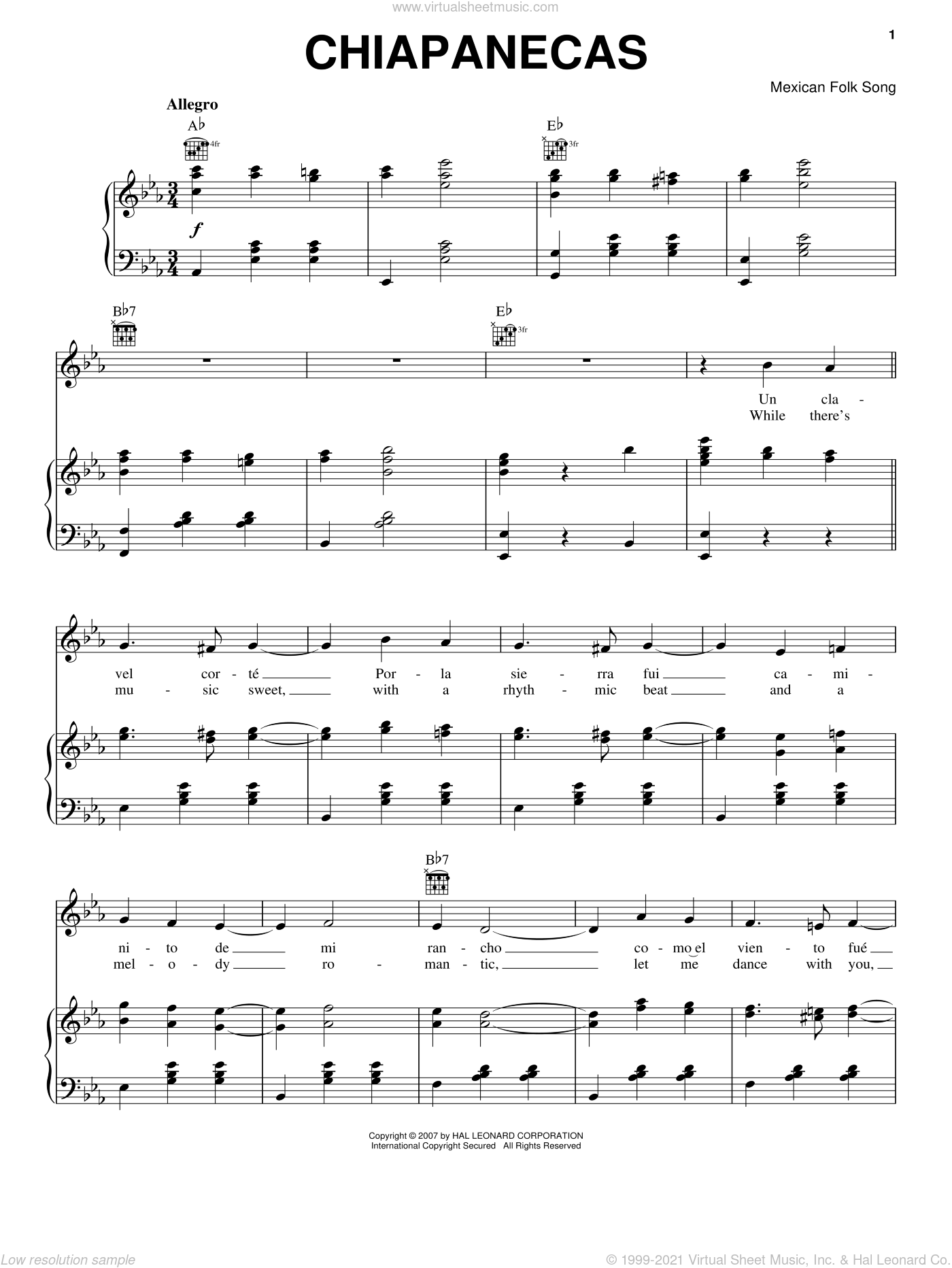 Chiapanecas sheet music for voice, piano or guitar, intermediate skill level
