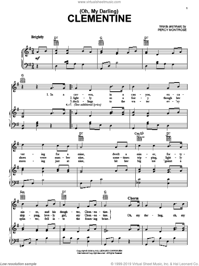 (Oh, My Darling) Clementine sheet music for voice, piano or guitar by Percy Montrose, intermediate skill level