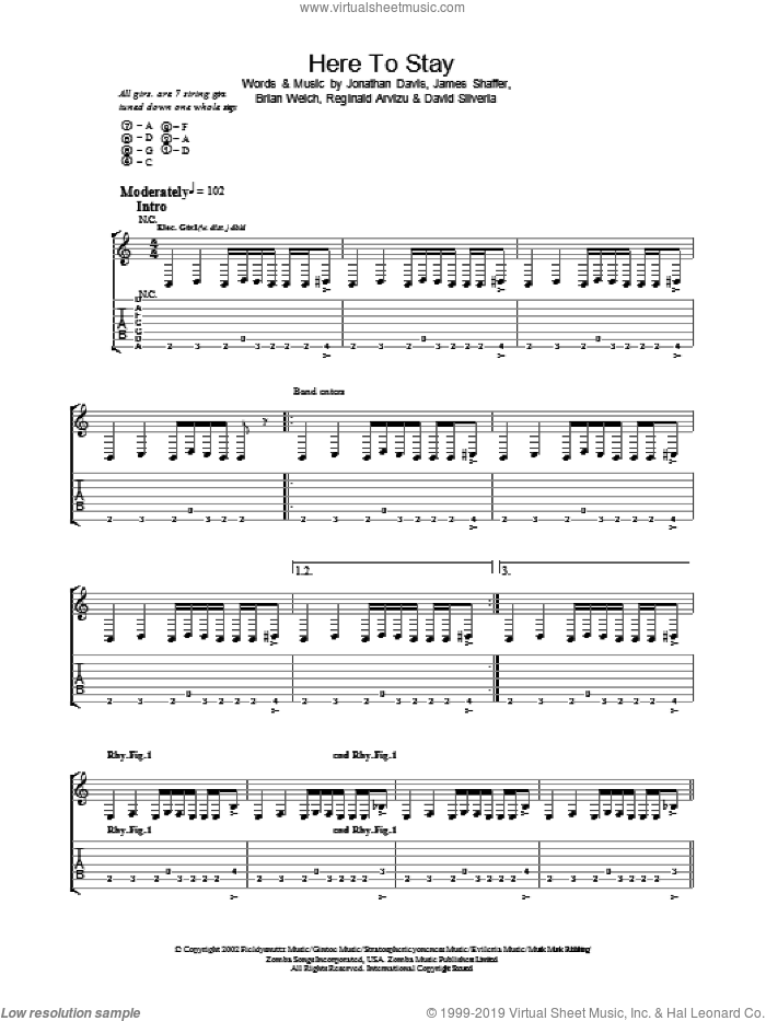 Here To Stay sheet music for guitar (tablature) by Korn. Score Image Preview.