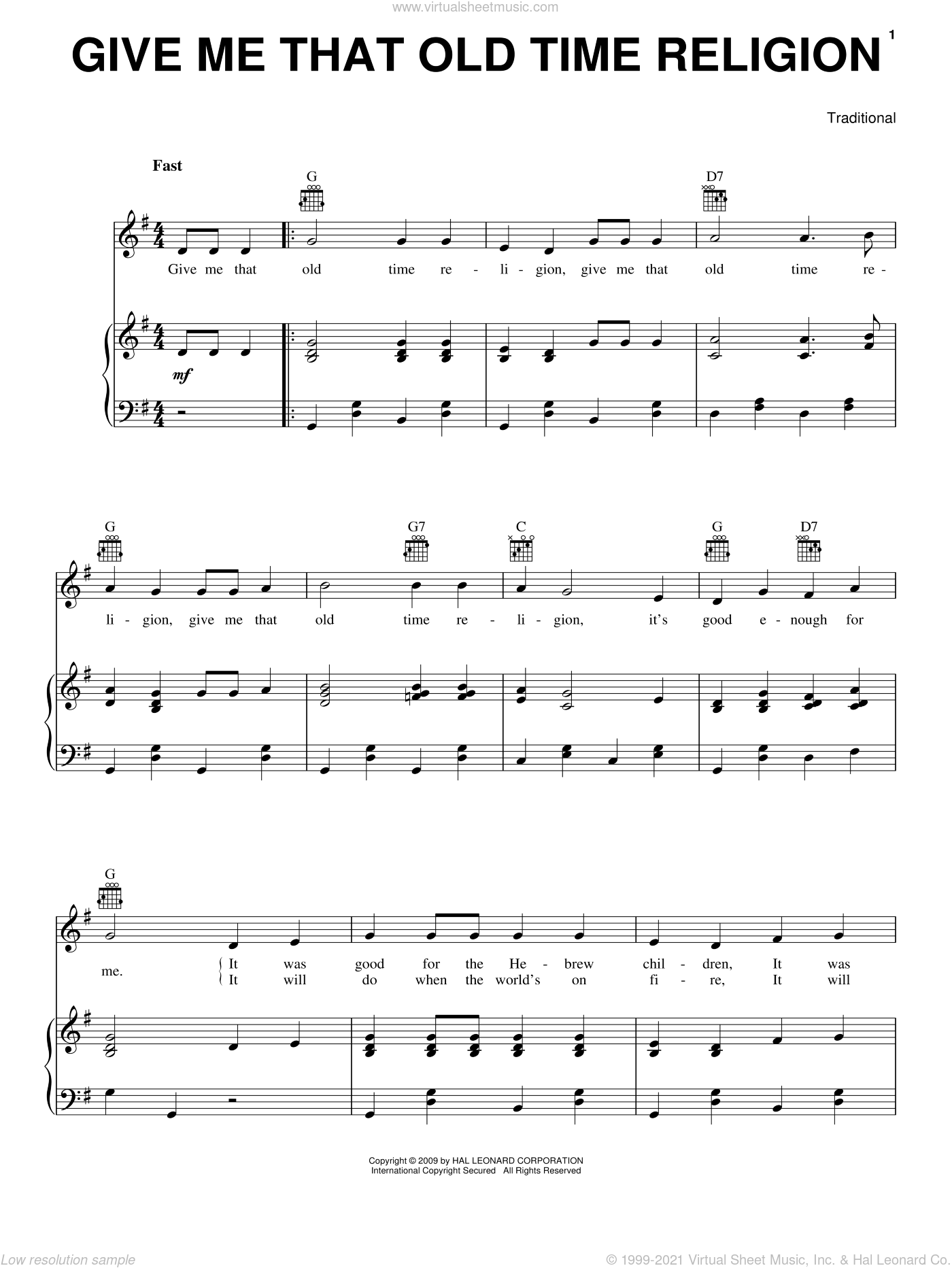 Give Me That Old Time Religion sheet music for voice, piano or guitar, intermediate skill level