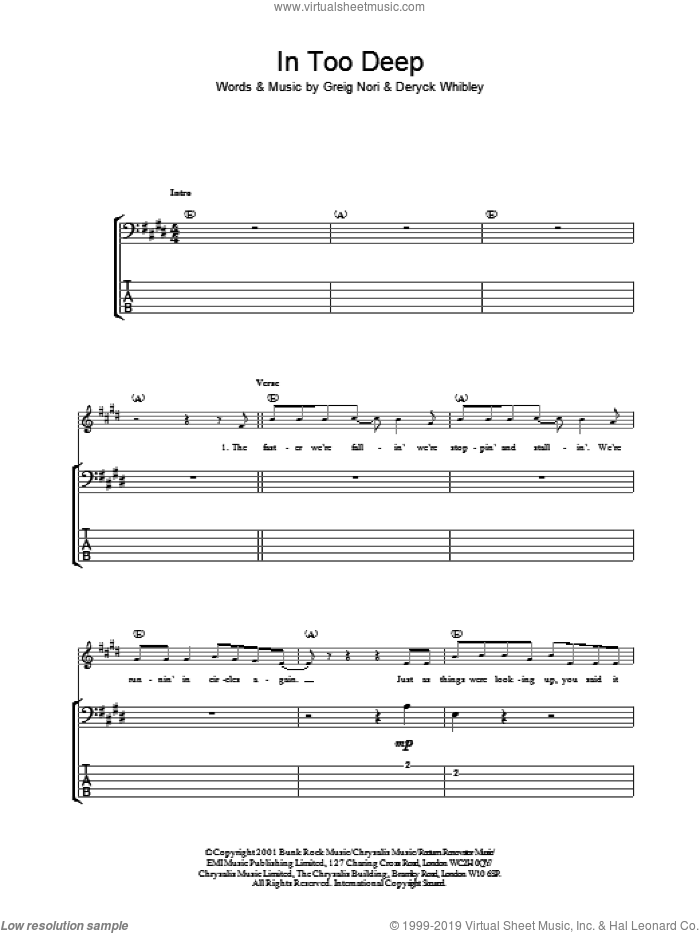 In Too Deep sheet music for bass (tablature) (bass guitar) by Sum 41, intermediate skill level