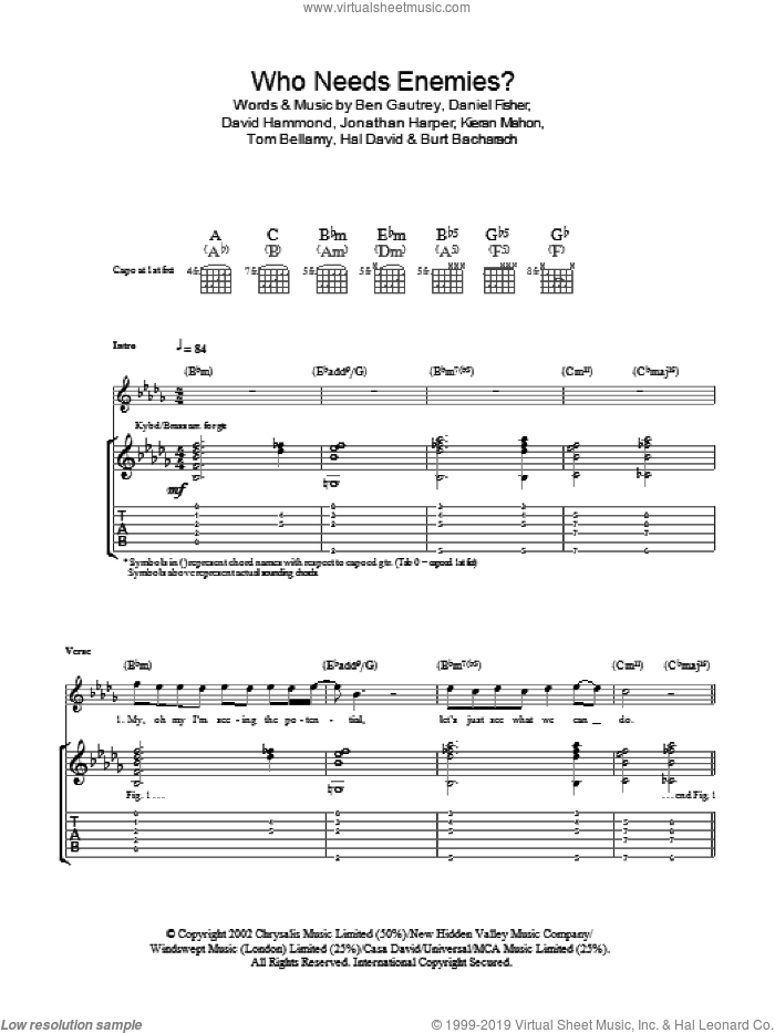 Who Needs Enemies? sheet music for guitar (tablature) by The Cooper Temple Clause