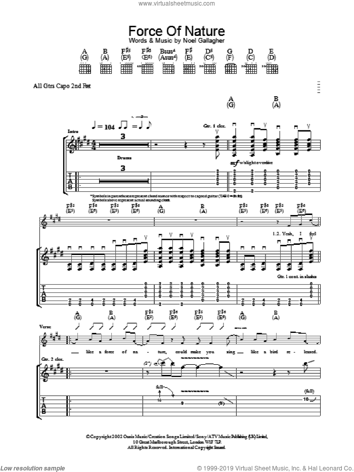 Force Of Nature sheet music for guitar (tablature) by Oasis. Score Image Preview.