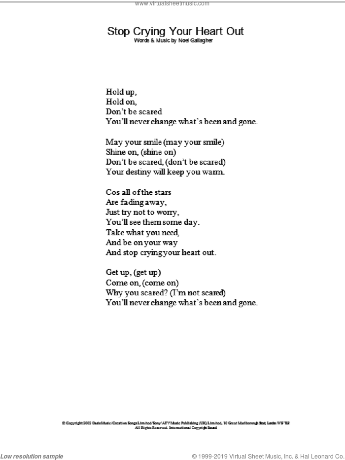 Stop Crying Your Heart Out sheet music for voice and other instruments (lyrics only) by Oasis, intermediate skill level