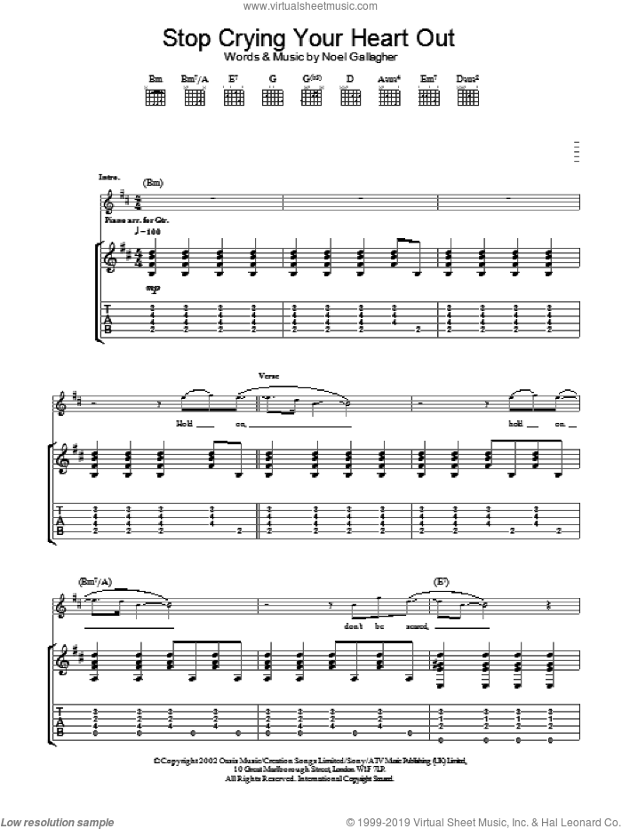 Oasis Stop Crying Your Heart Out Sheet Music For Guitar Tablature