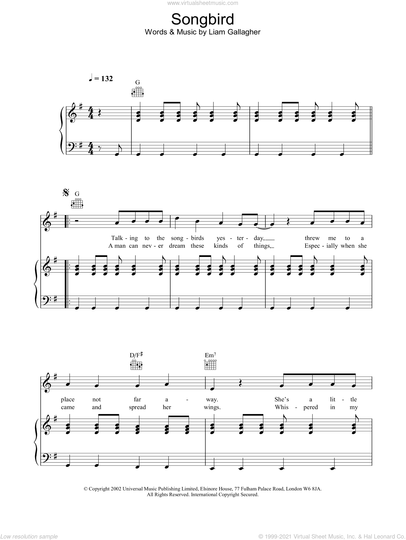 Songbird sheet music for voice, piano or guitar by Oasis, intermediate