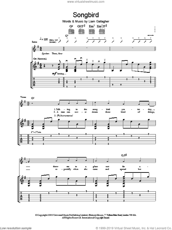 Songbird sheet music for guitar (tablature) by Oasis. Score Image Preview.