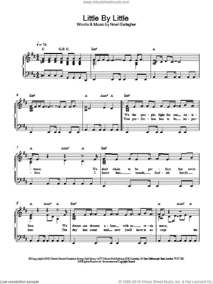 Little By Little sheet music for piano solo by Oasis. Score Image Preview.