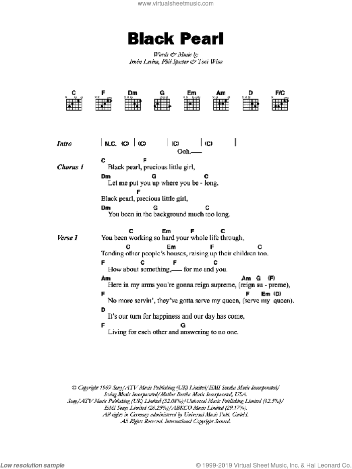 Black Pearl sheet music for guitar (chords) by Irwin Levine, Phil Spector and Toni Wine. Score Image Preview.