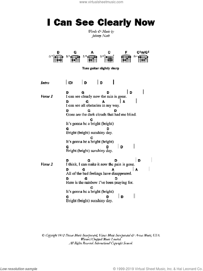 I Can See Clearly Now sheet music for guitar (chords, lyrics, melody) by Johnny Nash