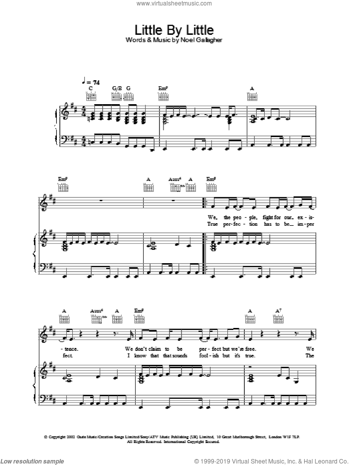 Little By Little sheet music for voice, piano or guitar by Oasis, intermediate. Score Image Preview.