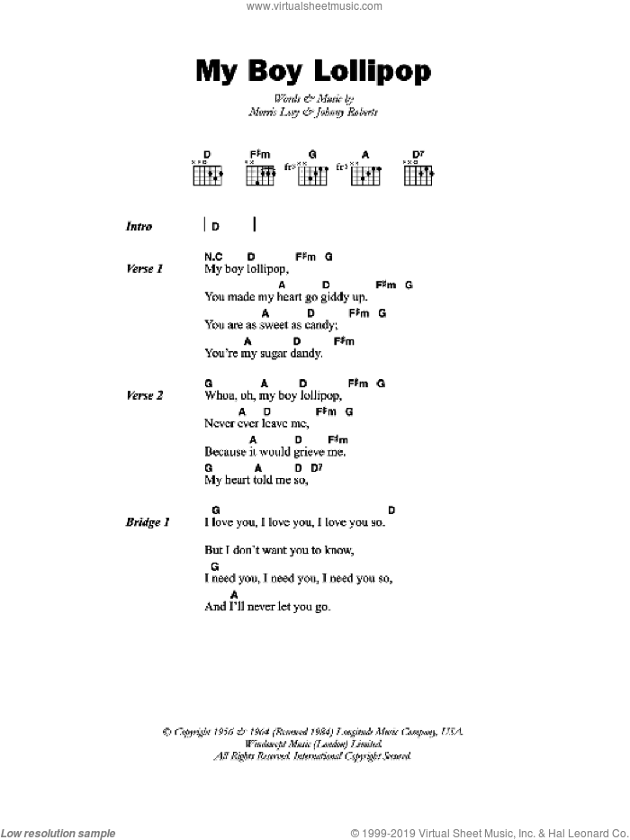 My Boy Lollipop sheet music for guitar (chords) by Johnny Roberts