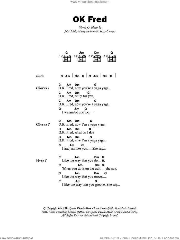 OK Fred sheet music for guitar (chords) by John Holt. Score Image Preview.
