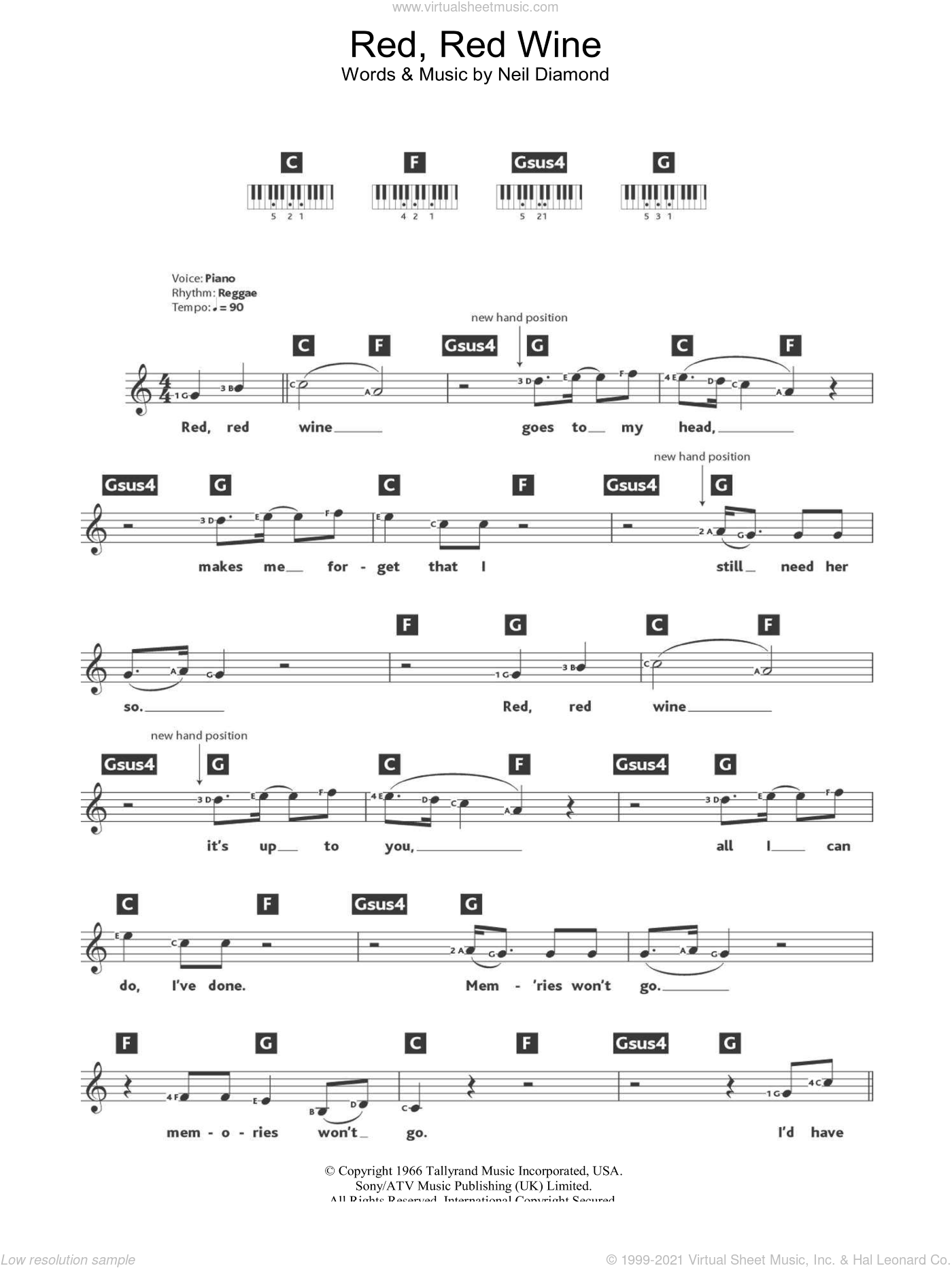 Red, Red Wine sheet music for piano solo (chords, lyrics, melody) by UB40 and Neil Diamond, intermediate piano (chords, lyrics, melody)