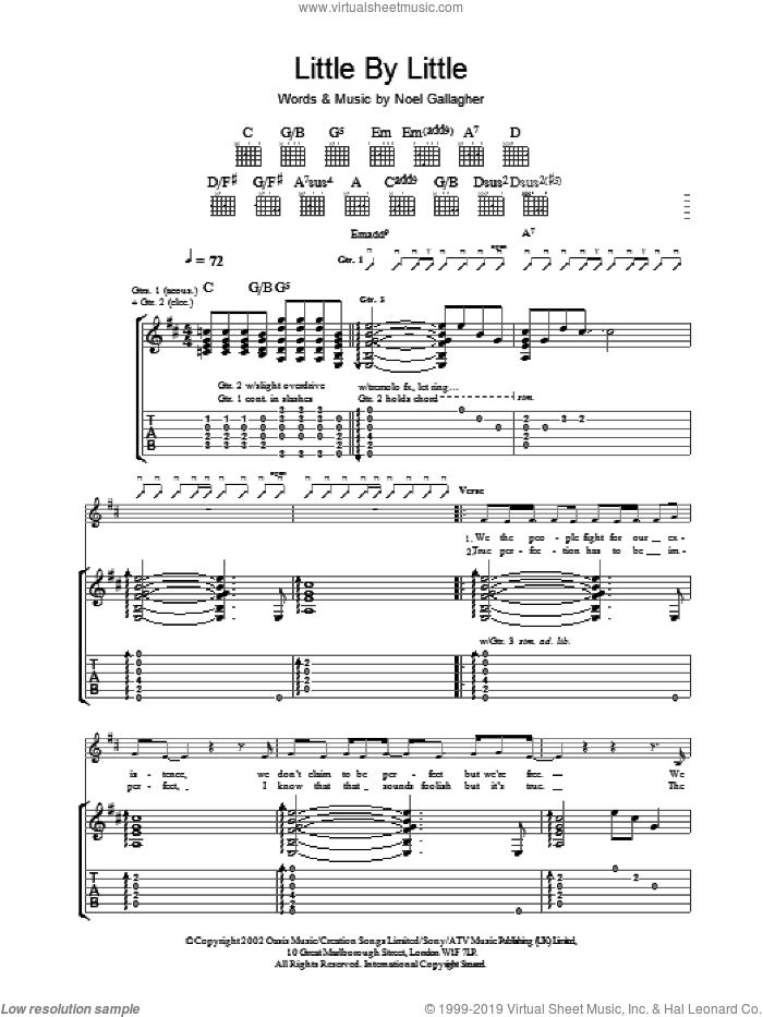 Little By Little sheet music for guitar (tablature) by Oasis, intermediate
