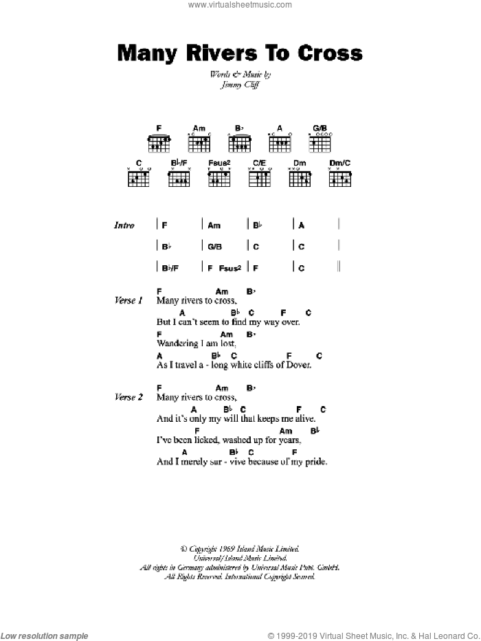 Many Rivers To Cross sheet music for guitar (chords, lyrics, melody) by Jimmy Cliff