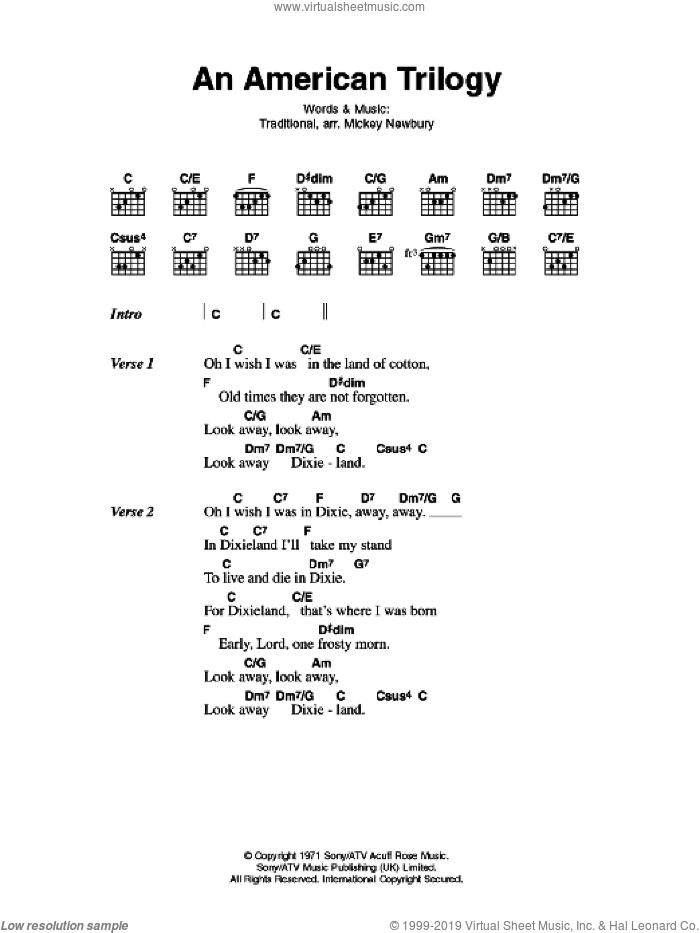 An American Trilogy sheet music for guitar (chords, lyrics, melody) by Elvis Presley
