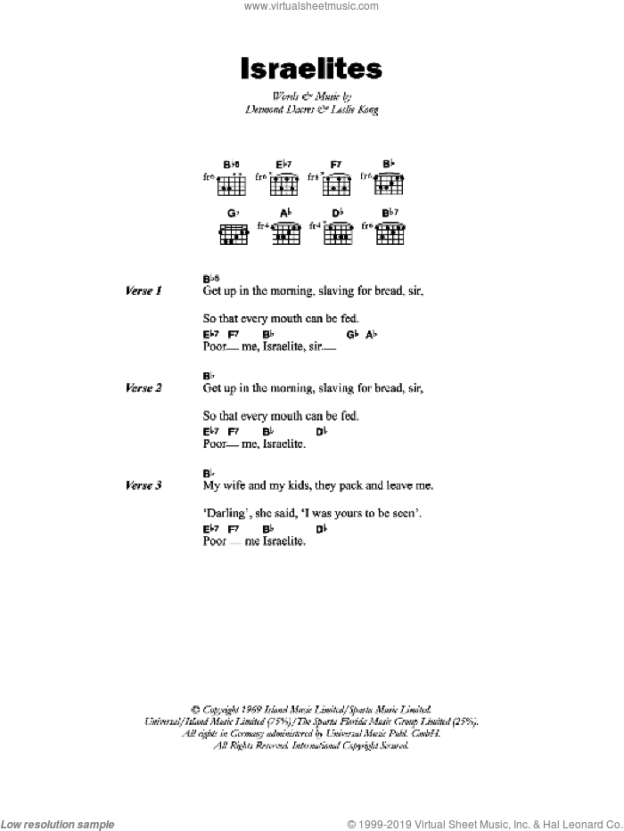 The Israelites sheet music for guitar (chords, lyrics, melody) by Desmond Dacres