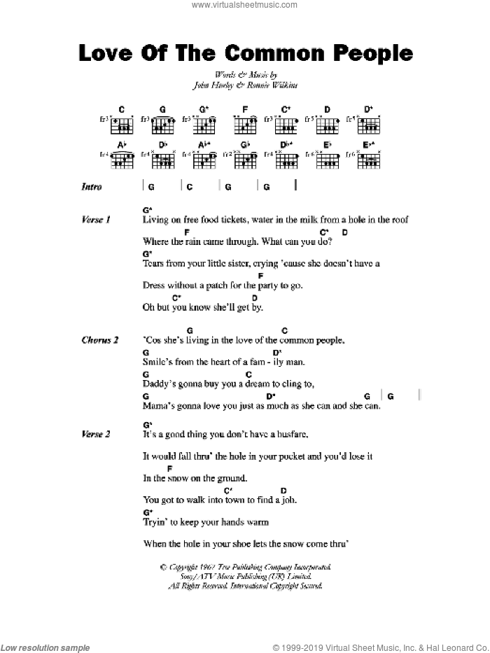 Love Of The Common People sheet music for guitar (chords) by John Hurley