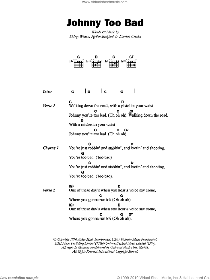 Johnny Too Bad sheet music for guitar (chords) by Delroy Wilson. Score Image Preview.